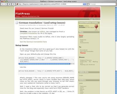 FlatPress screenshot